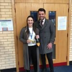 Megan Hanson with Will from Apollo Cardiff
