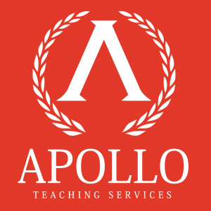 Apollo Logo white on red